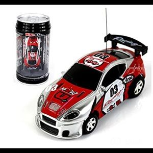New RC Car In a Can Mini Racer Red & Silver
